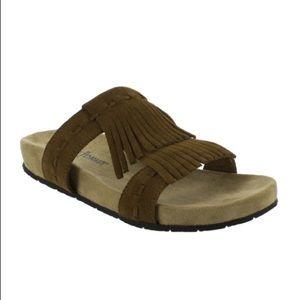 Minnetonka daisy leather fringe slide sandals